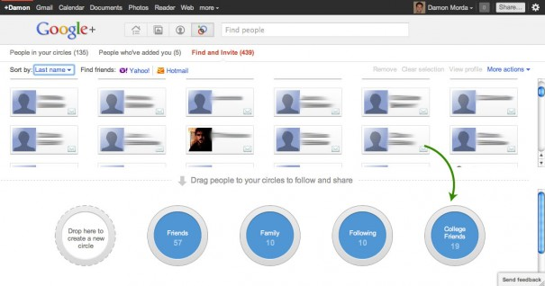 Add friends to Google+ circles