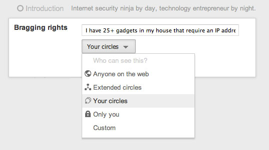 Limiting Who Can See Your Google+ Profile Information